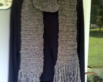 Scarf Hand-crocheted Gray Homespun Yarn