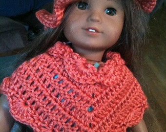 Persimmon Poncho and Hat Set 16 inch dolls