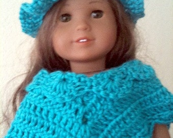Dolls, Doll Clothing, Doll Accessories, Ponchos, Hats, Teal, Crochet, Toys, Children,18-inch dolls