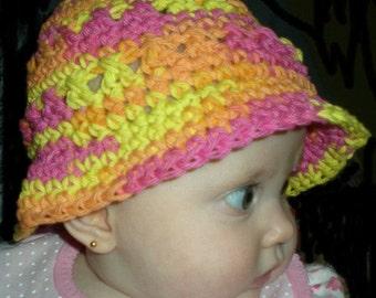 Hats, baby hats, bucket hats, toddlers, baby clothing, orange, pink, yellow, crochet, cotton,