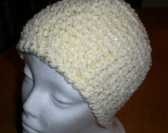 Soft White with Sparkly Thread Hat