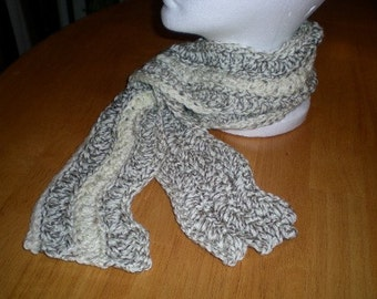 Scarf, Men's Scarf, Women's Scarf, Unisex, Crochet, Cream, Tan, Accessories
