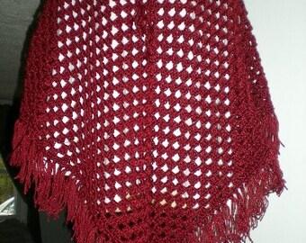 Poncho, Crochet, Red, Wrap, Shawl