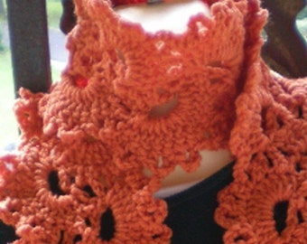 Scarves, scarf, Queen Anne Lace Scarf, Crochet Scarf, Crochet,  Deep Orange, Women's Accessories, Women's fashions