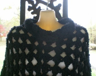 Poncho, Double Thick Poncho, Crochet, Black, Women, Girls,Accessories,Shawl