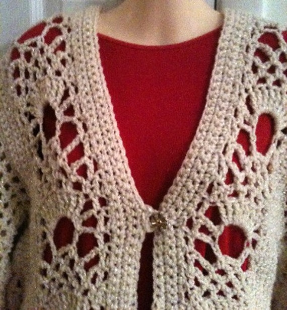 Sweaters, Womens sweaters, Cardigan sweaters, Sweater, womens fasions, womens clothing, ivory, gold, crochet