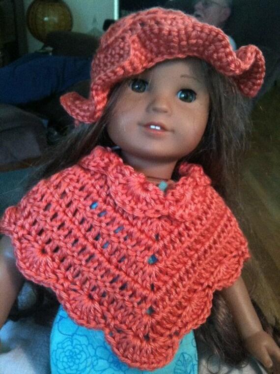Dolls, Doll Clothing, Doll Accessories, Ponchos, Hats, Teal, Crochet, Toys, Children,18-inch dolls