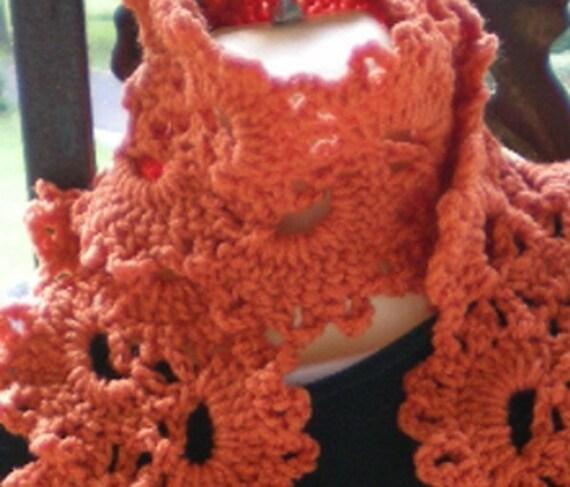 Scarves, scarf, Queen Anne Lace Scarf, Crochet Scarf, Crochet,  Deep Orange, Women's Accessories, Women's fashions