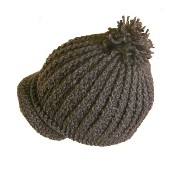 Crochet Ribbed Hat : Crocheted Newsboy Ribbed Hat, Adorable, Pattern no.76