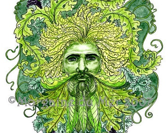 GreenMan of Grapevines Print Pagan Fantasy Watercolour Art Nature Mythology Altar Decor