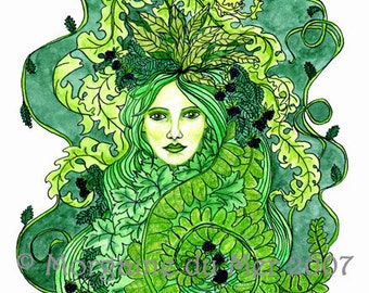 GreenWoman Earth Mother Fae Goddess Print Pagan Fantasy Wall Art Nature Green Lady Mythology Altar Decor