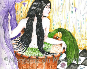 Melusina Water Goddess Mermaid in Bathtub Print Mythic Pagan Legend Fantasy Fine Art Pen and Ink Watercolour Undine Illustration
