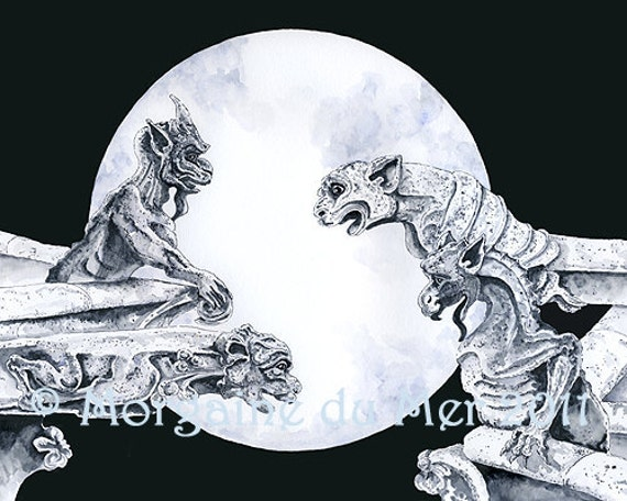 Gargoyles of Notre Dame Fine Art Print Full Moon Gothic Dark Fantasy Ink and Watercolours Illustration