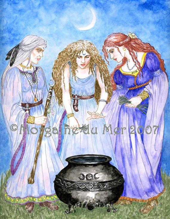 Maiden Mother Crone Triple Goddess Art Print Priestesses Pagan Wicca Fantasy Altar Decor Cauldron New Moon Ritual
