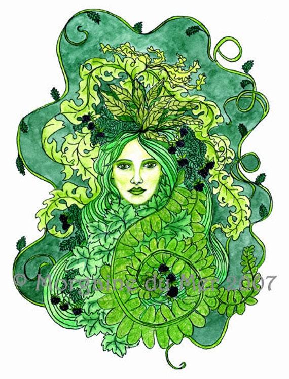 Green Woman Earth Mother Print Pagan Fantasy Art Nature Goddess Mythology Altar Art