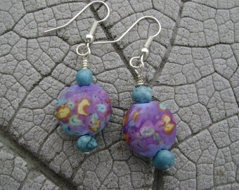 SALE Reduced by 25% LENTILS Lampwork Beads by Cherie Sra R114 Flameworked Lentil Glass Bead Earrings