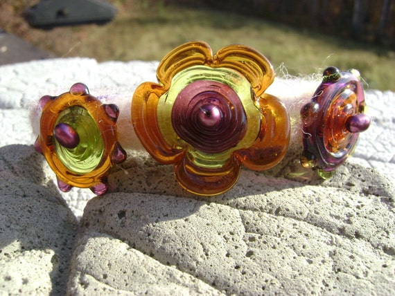 Needle Felted Bracelet with Lampwork Beads
