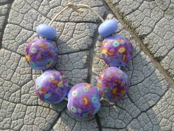 HAPPY LENTILS Lampwork Beads by Cherie Sra R114 Flameworked Lentil Glass Beads