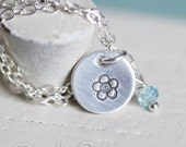 Forget Me Not Necklace--with faceted Blue Zircon Gem