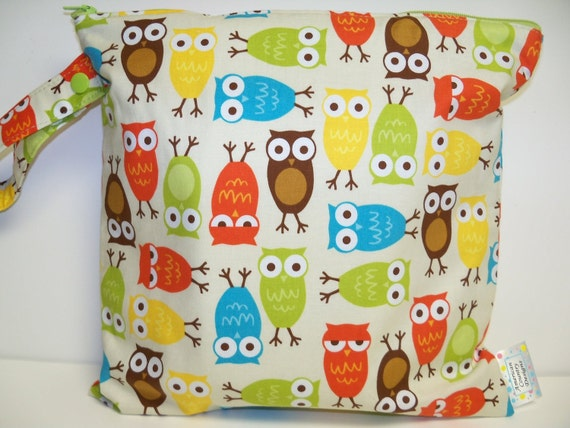 Small Wet Bag - Wet Bag - 11 X 11 - Urban Zoologie Owls