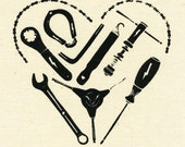 Heart-Shaped Bicycle Tool Screenprinted Patch