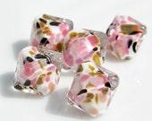Neopolitan. Encased Handmade Lampwork Beads (5), SRA