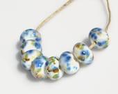Blue Blossoms.  Handmade Lampwork Frit Spacer Beads, SRA