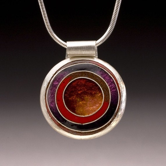 Enameled Round Pendant with Concentric Circle Design