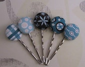 Brown and Blue Bobby Pins Set of 5