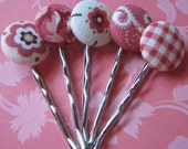 Rose and White Bobby Pins Set of 5