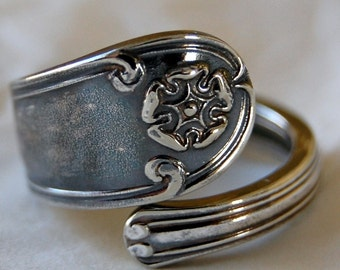 Spoon Ring Dainty Patina Vintage Silver - Name your size.