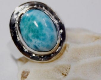 Rare Larimar and Sterling Band Ring Size 5.5