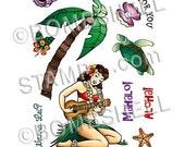 Hawaiian Girl Rubber Stamp Set