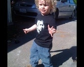 Kurt Cobain / Nirvana - Onesie, Lap Tee, Toddler T or Youth T Shirt - your choice of size/style -  American Apparel (black)