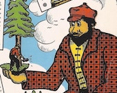 Large 1939 Paul Bunyan Postcard Ray Bang