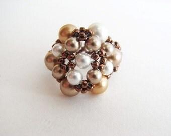 Beaded Cluster Pearl Ring Tutorial TWR057