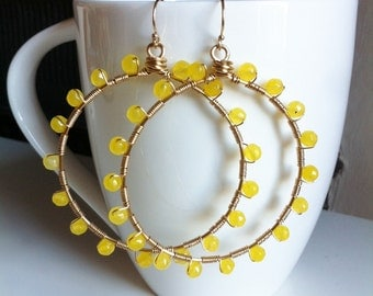 Sunburst lemon jade wrapped large hoops