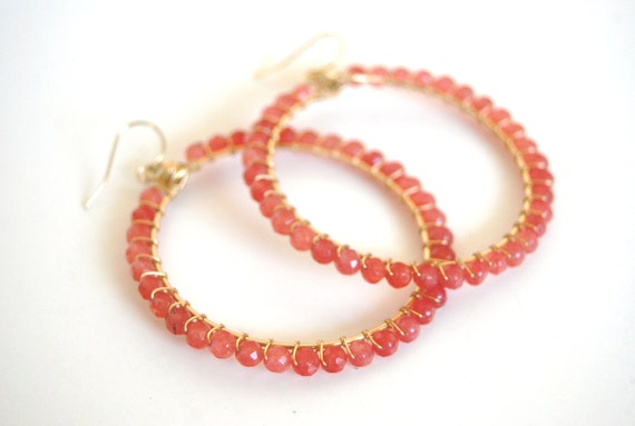 Cherry quartz wrapped hoops