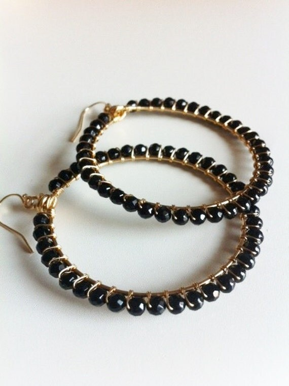 Reserved for Trellys - Wrapped hoop earrings, faceted Onyx