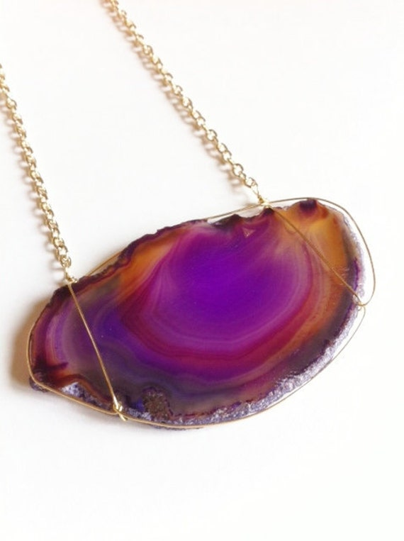 Purple and amber banded agate slice necklace