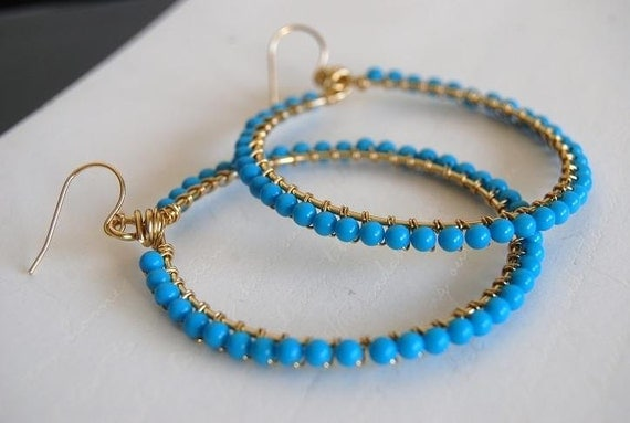 Turquoise howlite wrapped hoops