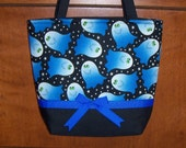 Blue Ghosts purse/tote bag handmade