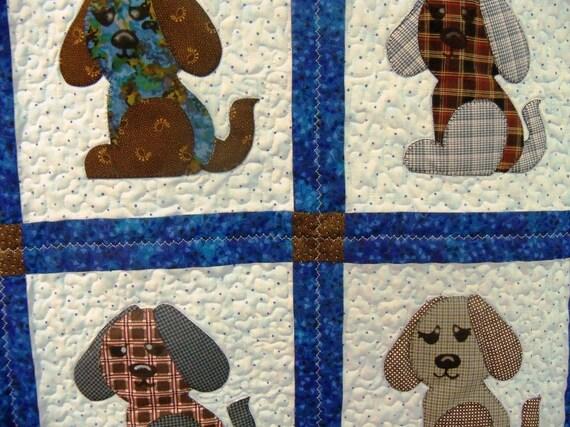 Appliqued Puppy Quilt