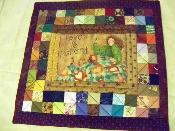 Patchwork pillow cover-Love is patient