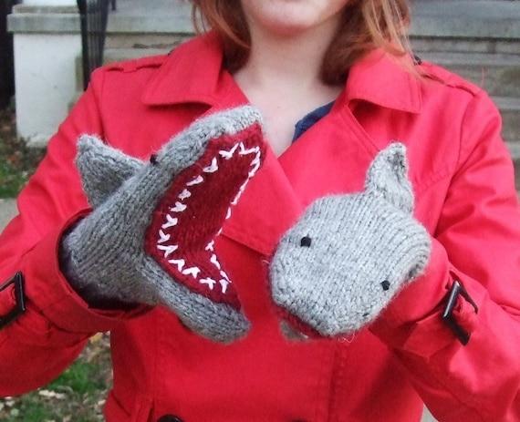 Handknit Shark MittensAdult Large
