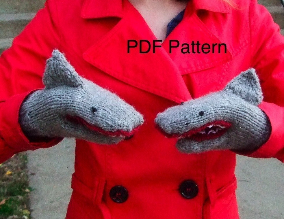 PDF Knitting Pattern Shark Mittens
