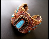 Sinai Glitz  - Turquoise, Brown, Gold and Copper Bead Embroidered OOAK Cuff