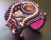 RESERVED for birtasophia - SALE 25% off - Purple Balagan -  OOAK Bead Embroidered Cuff