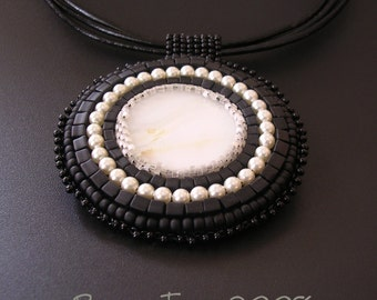 Black and Pearl Pendant  Bead Embroidered - SALE 25% OFF