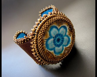 SALE 25% OFF - Flower Power - OOAK Turquoise, Bronze and Brown Bead Embroidered Beaded Leather Cuff